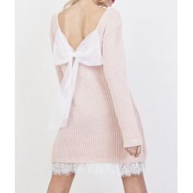 Vestido punto con lazo espalda