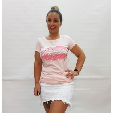 Camiseta beso brillantes