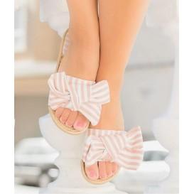sandalia rayas rosa
