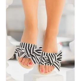 sandalia rayas negra