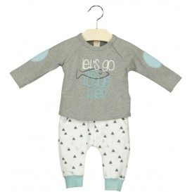 CONJUNTO AZUL Y GRIS COTTON FISH